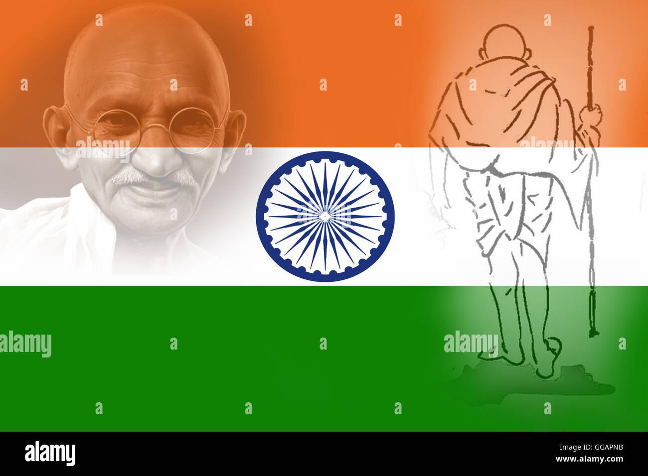 Il 2 ° ottobre. Il Mahatma Gandhi compleanno. Padre della nazione. Il vero patriottico. Mohan Das Karamchand Immagini Stock