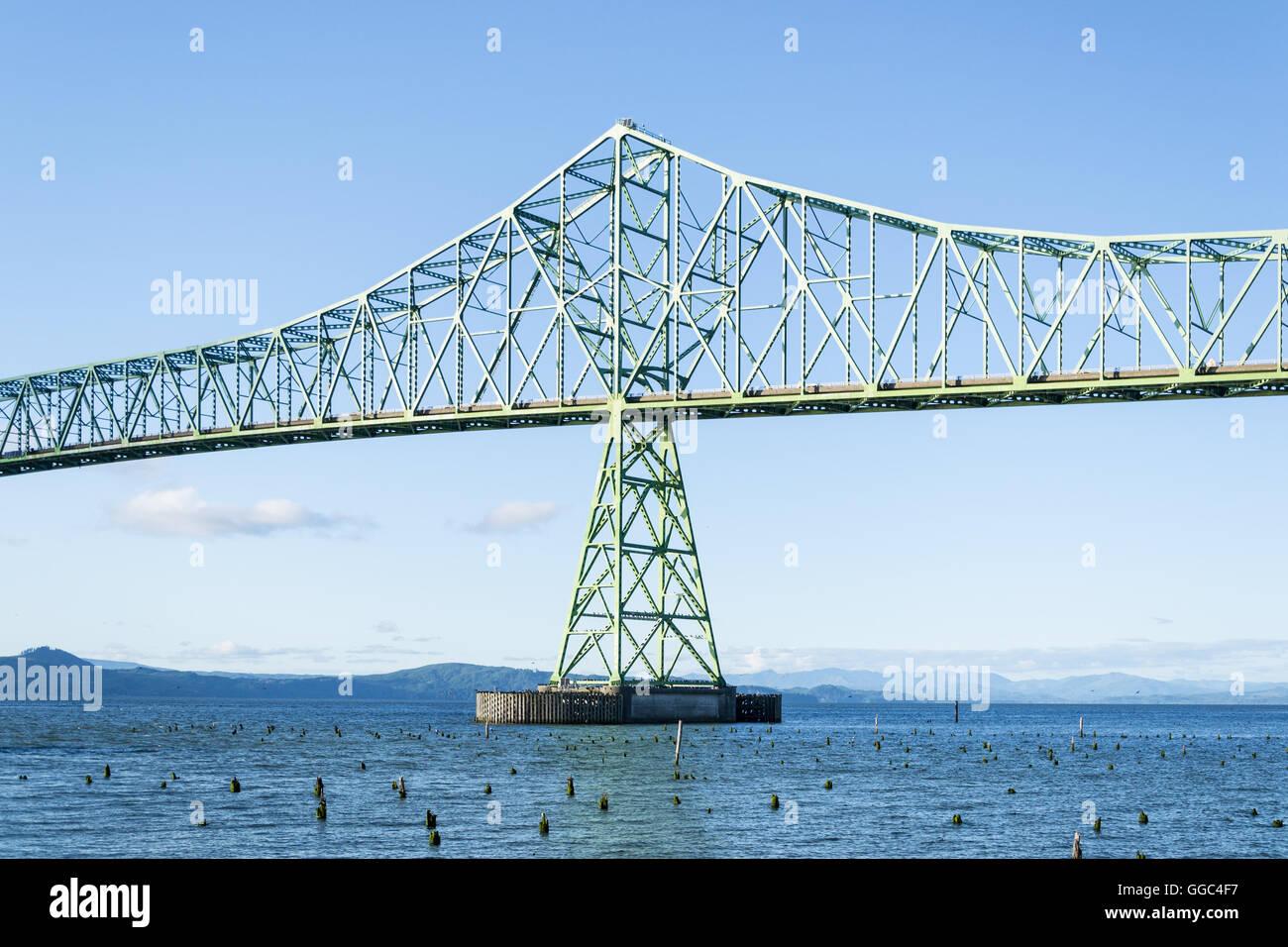 La sezione centrale del ponte di Megler in Astoria, o Immagini Stock
