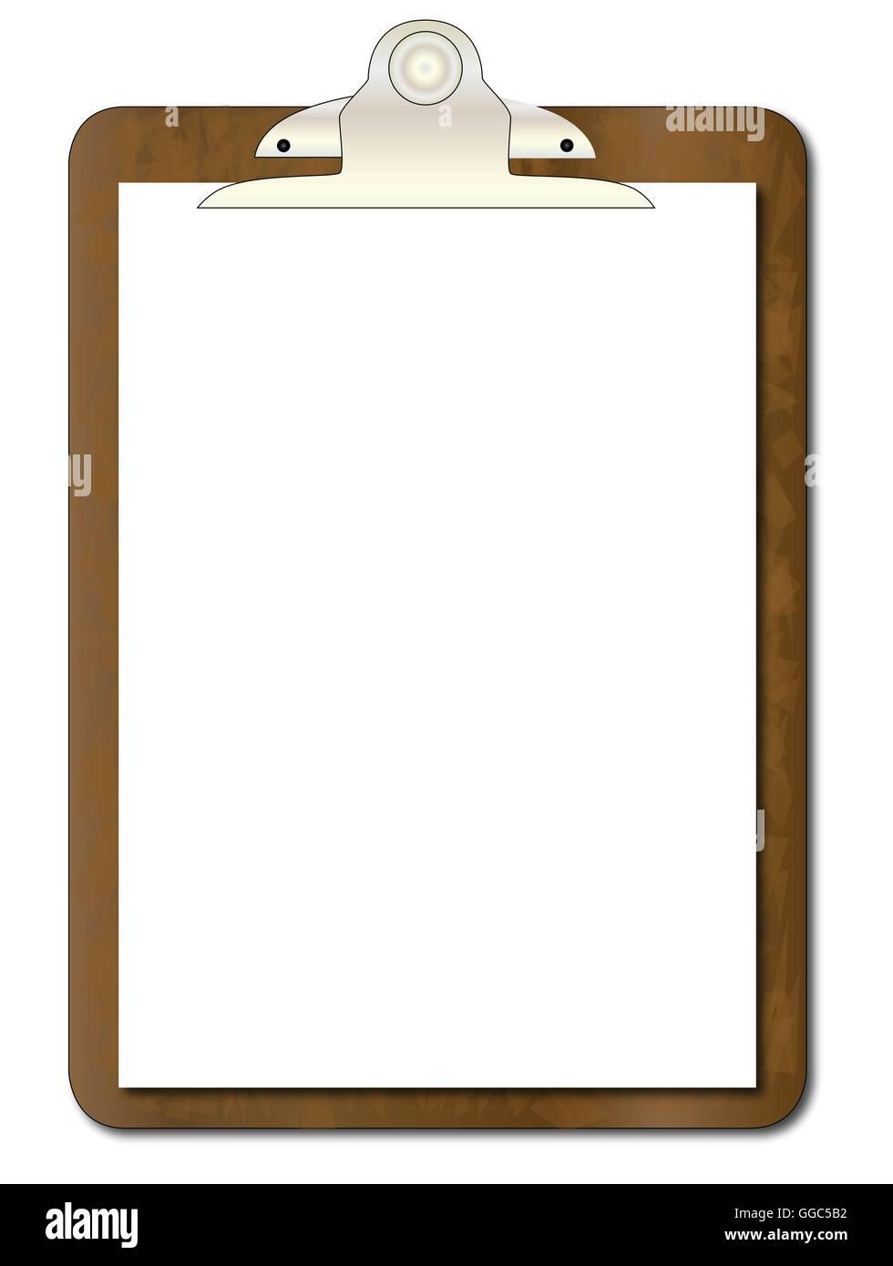 Una clipboard usurato con un foglio di carta bianca isolata su bianco. Immagini Stock