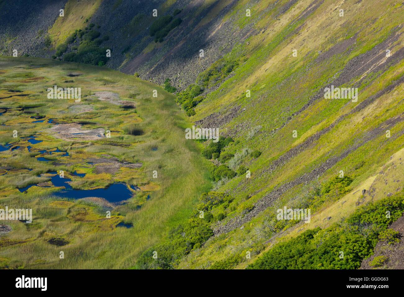 Sud America; Cile; l'Isola di Pasqua; Isla de Pasqua, sud pacifico; UNESCO Patrimonio Mondiale, Rano Kau cratere Immagini Stock