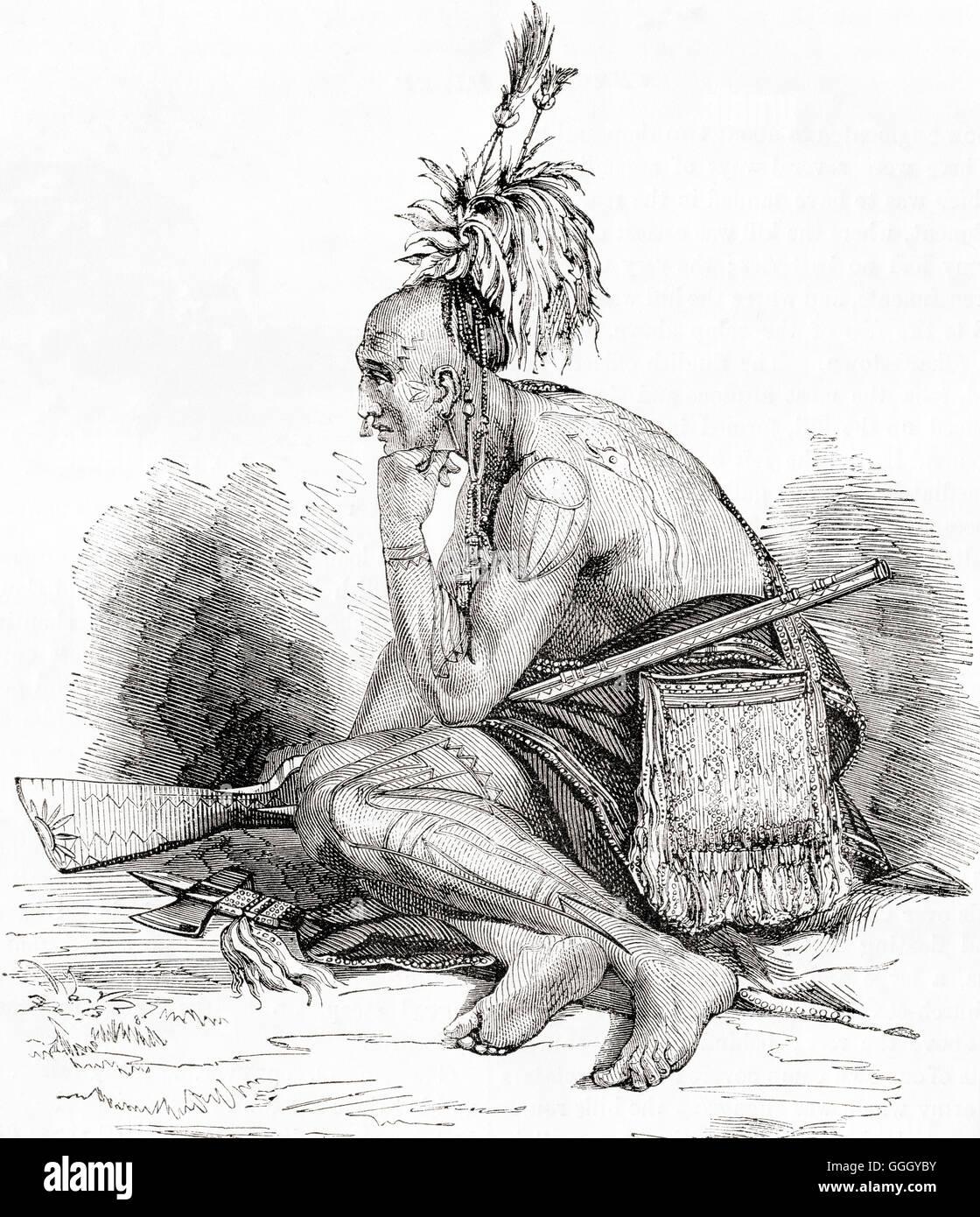 Un Canadese indiano del XVIII secolo. Immagini Stock