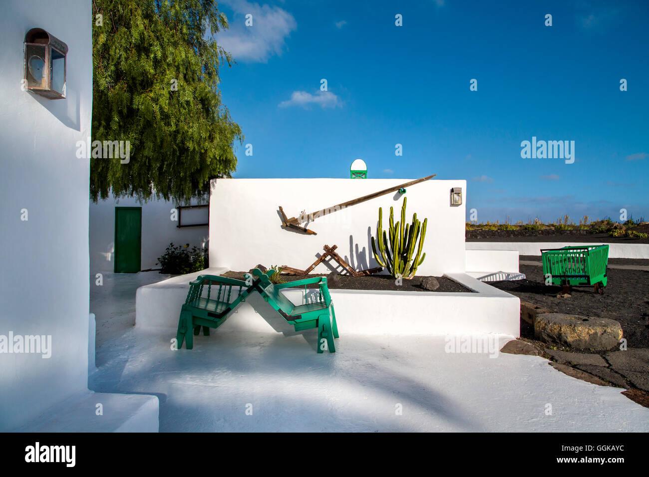 Cestello per cammelli, Museo del Campesino, Monumento al Campesino, Lanzarote, Isole Canarie, Spagna Immagini Stock