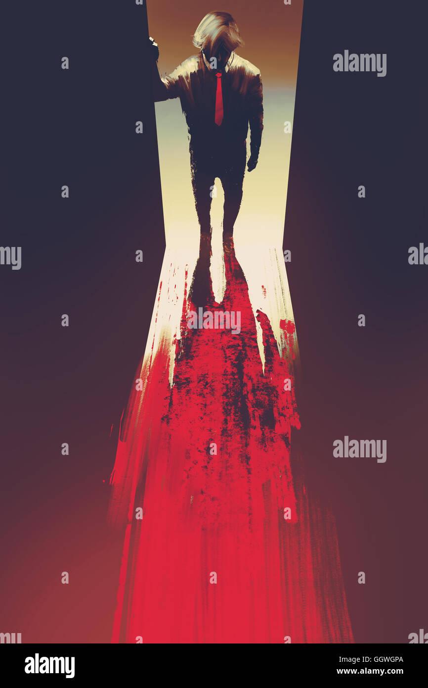 Uomo in piedi di fronte alla porta,omicidio concetto,illustrazione pittura Immagini Stock