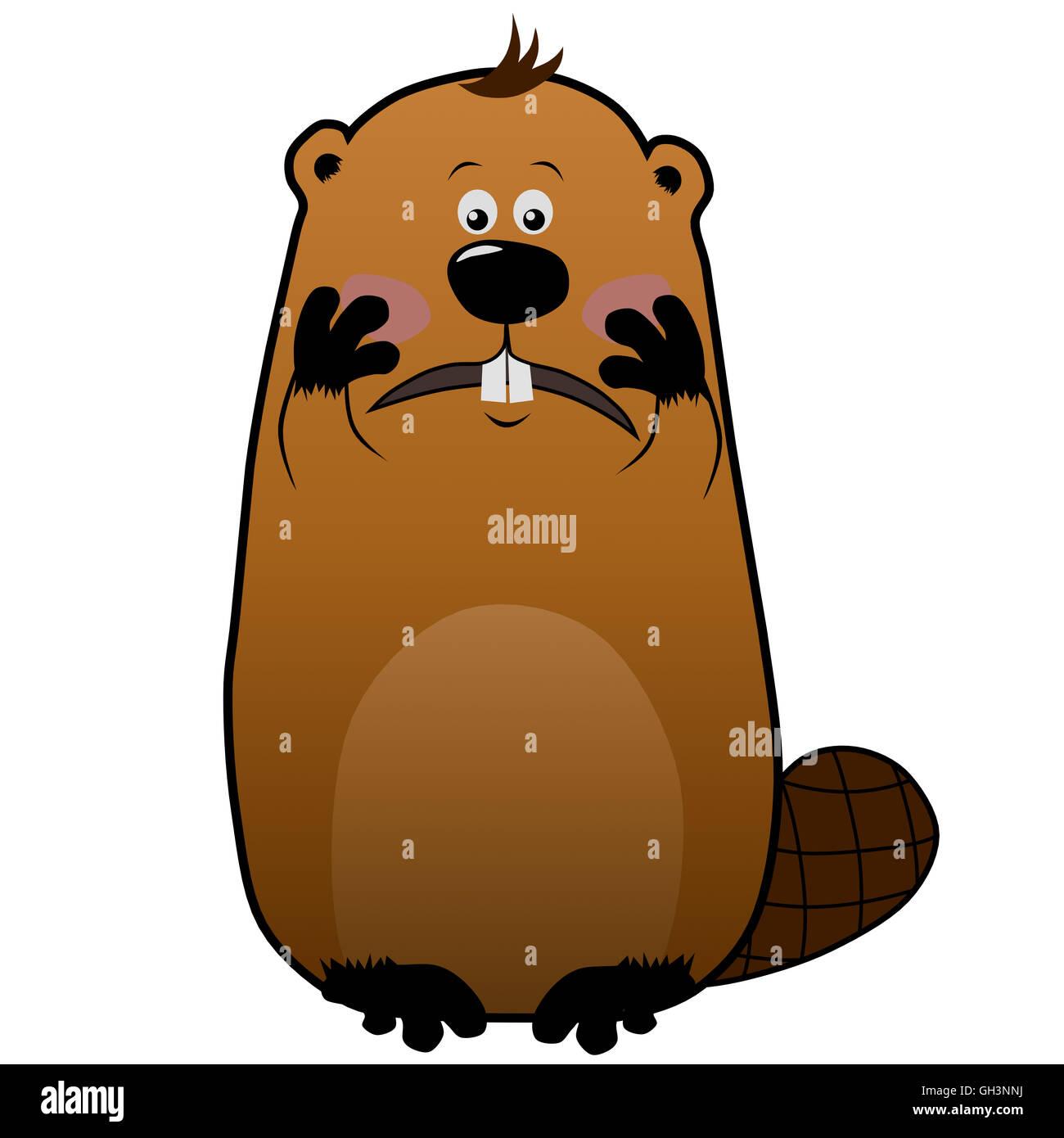Imbarazzato cartoon beaver su sfondo bianco, emozioni Immagini Stock