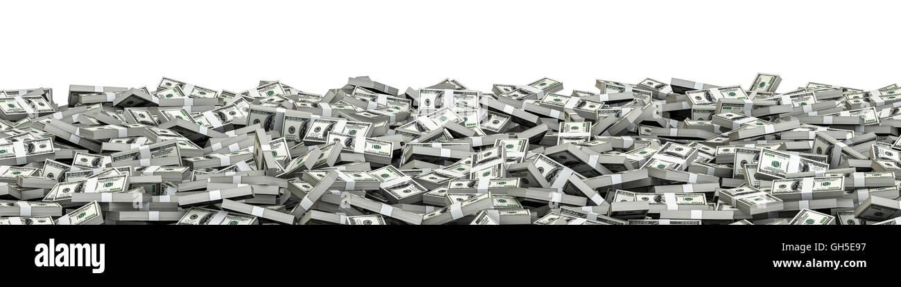 Panorama di pile di dollari / 3D illustrazione di panoramiche di pile di centinaia di fatture del dollaro Immagini Stock
