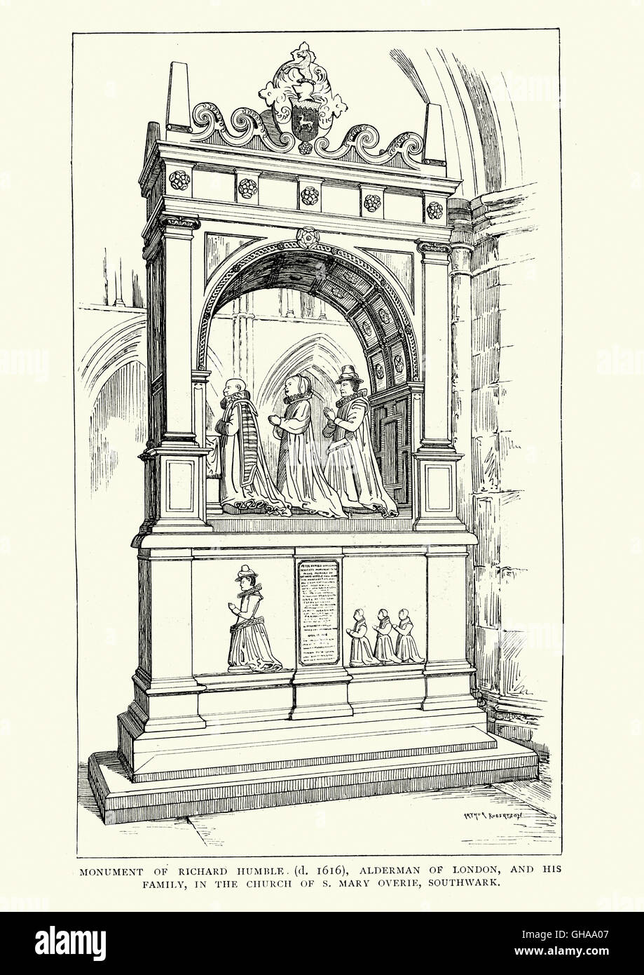 Un monumento di Richard umile (d. 1616), assessore di Londra e la sua famiglia, la chiesa di St Mary Overie, Southwark Immagini Stock