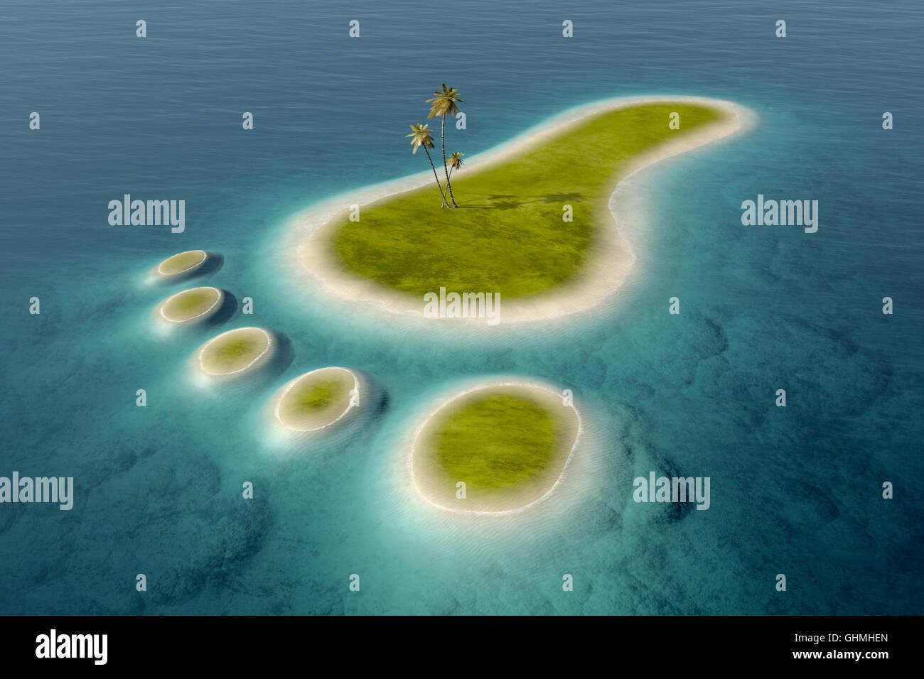 Verde isole con spiagge bianche a forma di una impronta circondato da tropicale oceano blu acqua. Conceptual 3D Immagini Stock