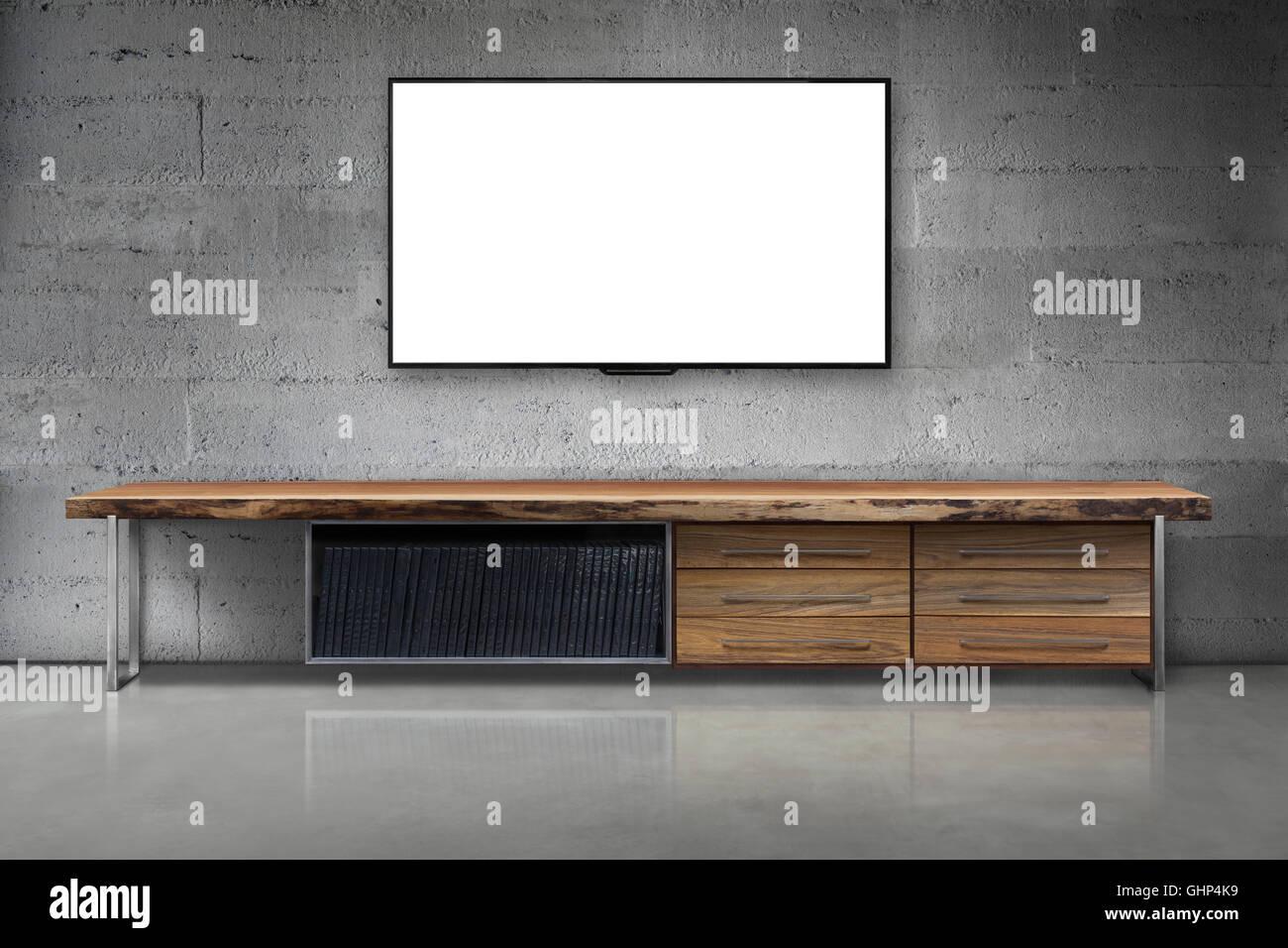 Soggiorno Moderno Con Tavolo In Legno.Led Tv Sulla Parete Di Cemento Con Un Tavolo Di Legno Soggiorno