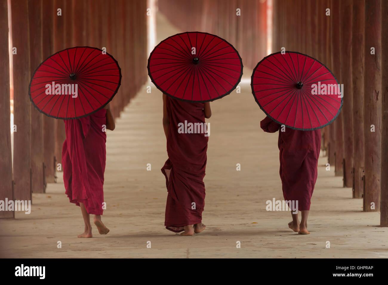 Asian,vita di un monaco Buddista in Birmania. Immagini Stock