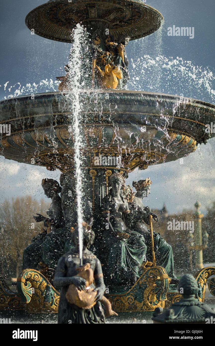 Le fontane di Place de la Concorde, Paris, Francia Immagini Stock