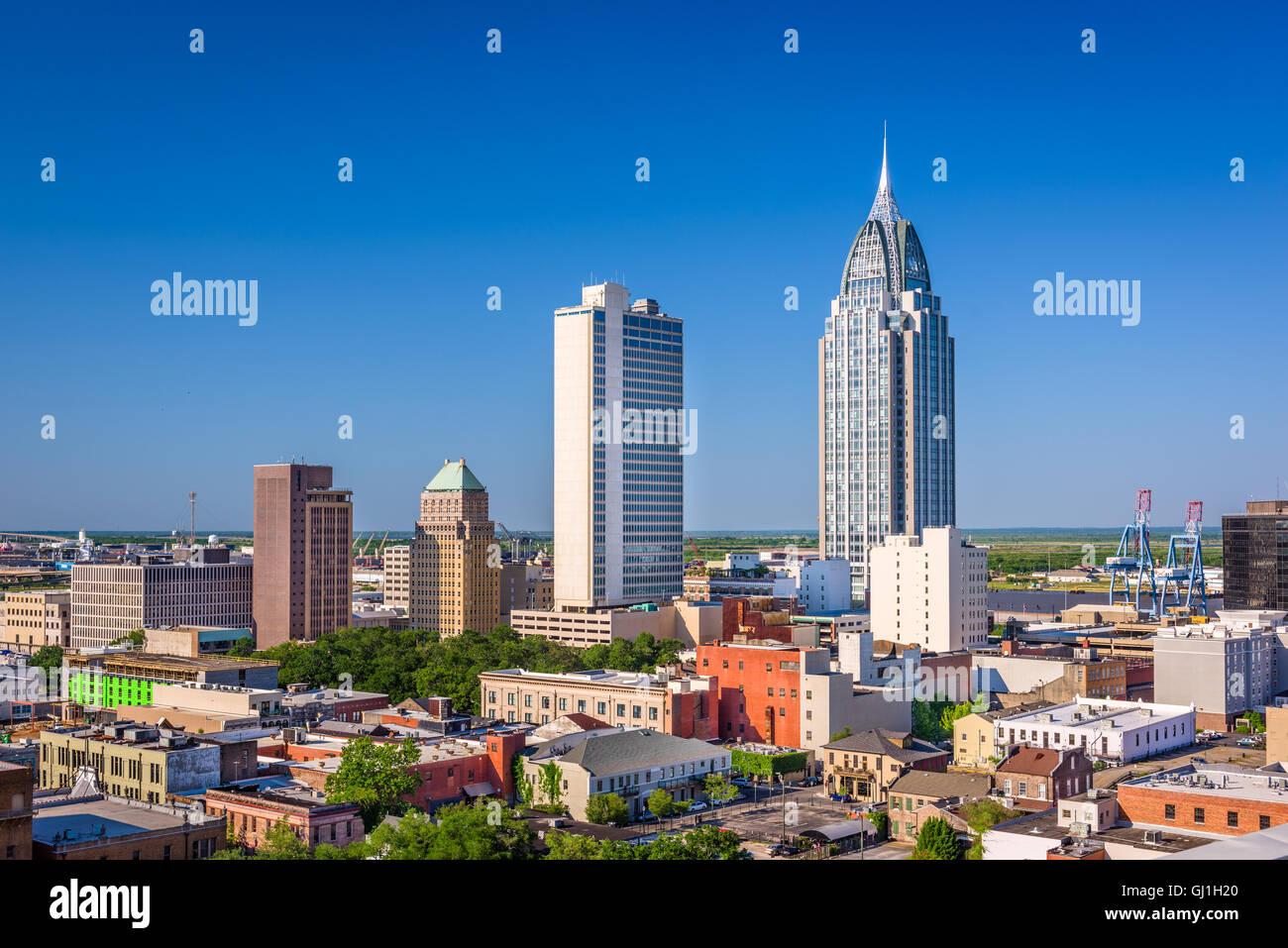Mobile, Alabama, Stati Uniti d'America skyline del centro. Foto Stock