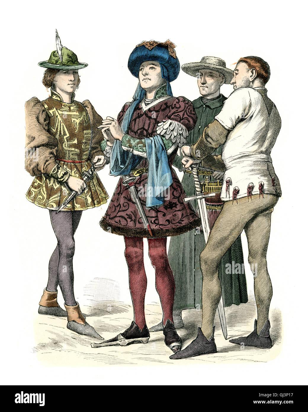 Moda medievale - Burgundian metà del XV secolo Immagini Stock