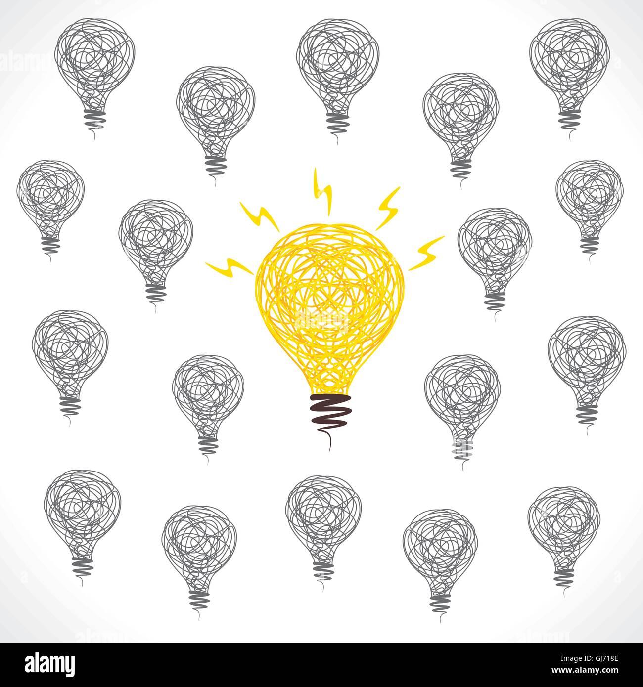 Nuova idea di lampadina centro design concept vettore Immagini Stock