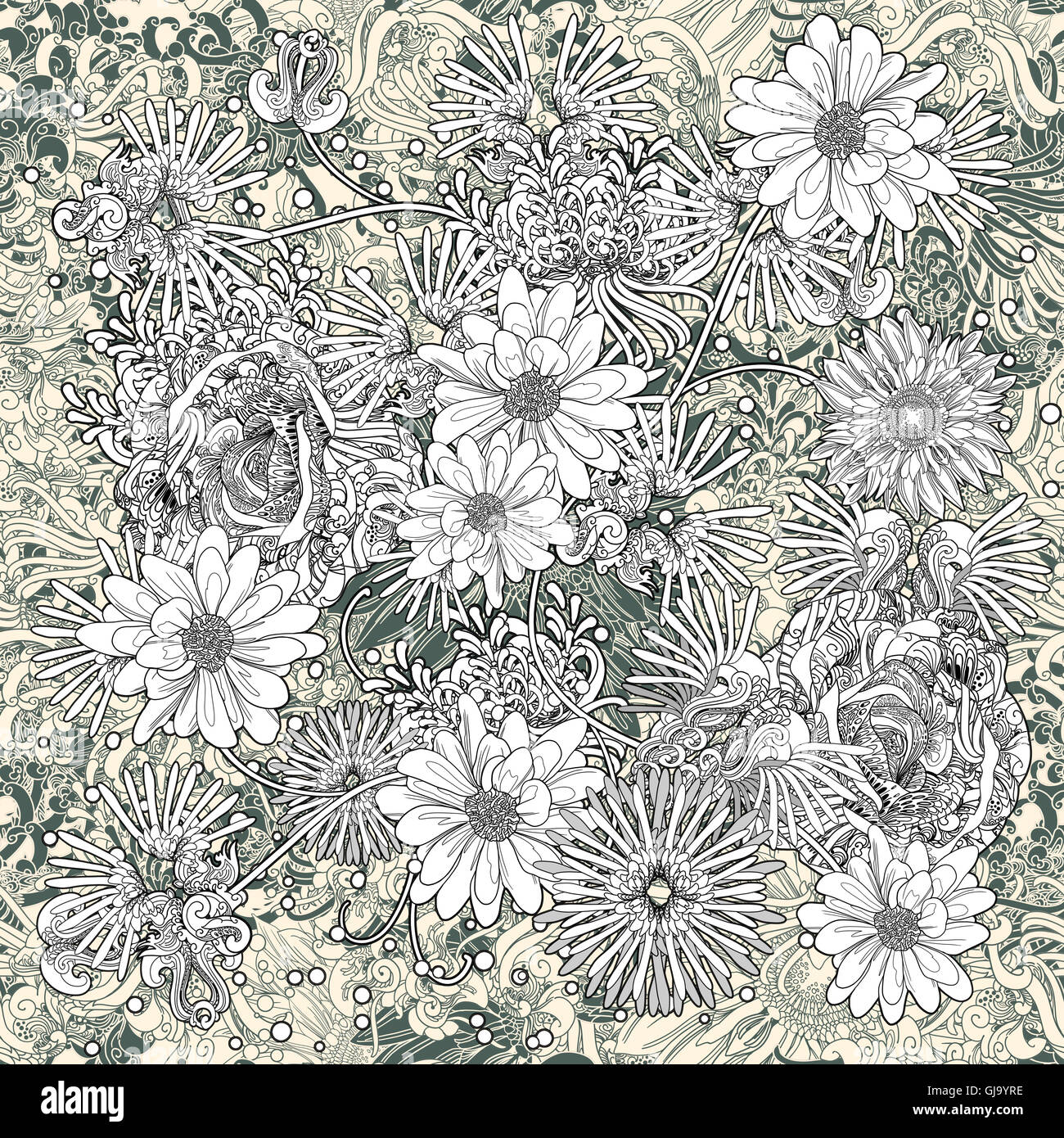 Fiori seamless pattern,floral,monocromatico sfondo infinito Immagini Stock