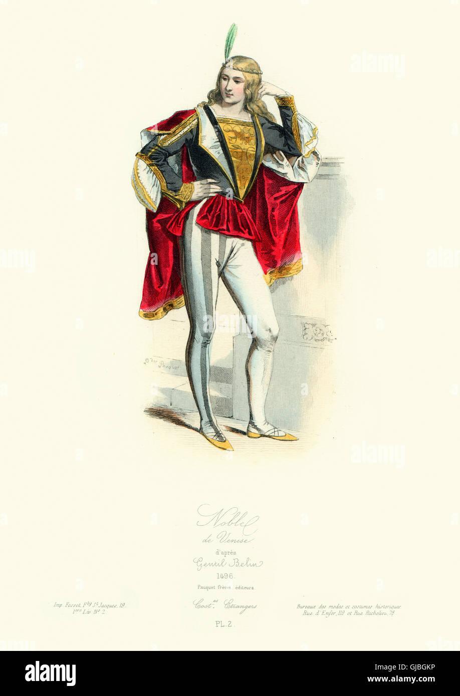 Costume di un quindicesimo secolo nobile veneziano. Modalità et costumi  Historiques 2c701b35f2f