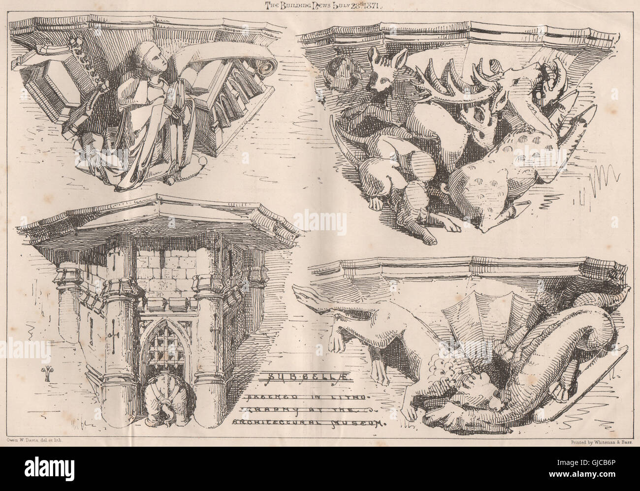 Subsellae; arcuato in litografia presso il Museo di Architettura. Progettazione, 1871 Immagini Stock