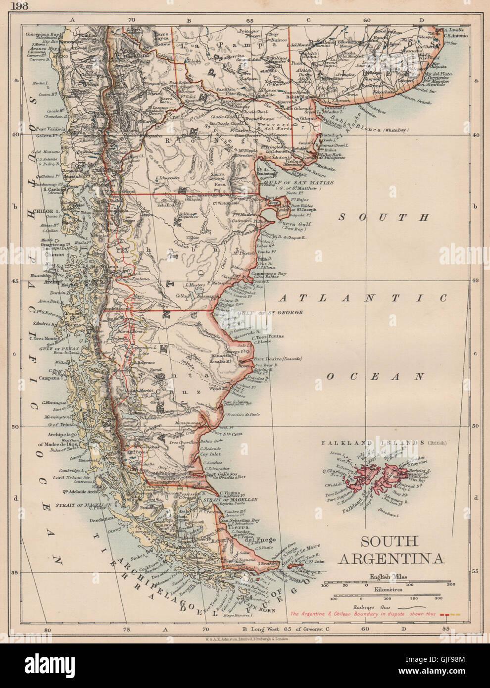 Patagonia Cartina Geografica.La Patagonia Argentina E Cile Border E 1902 Cordigliera Delle Ande Controversia 1906 Mappa Foto Stock Alamy