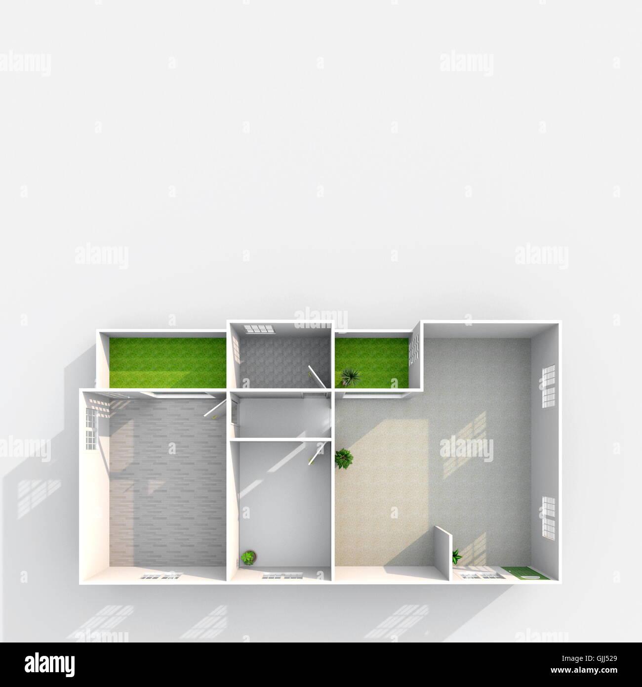 Piante Da Appartamento 3d.3d Interni Rendering Vista In Pianta Del Vuoto Modello Di Carta