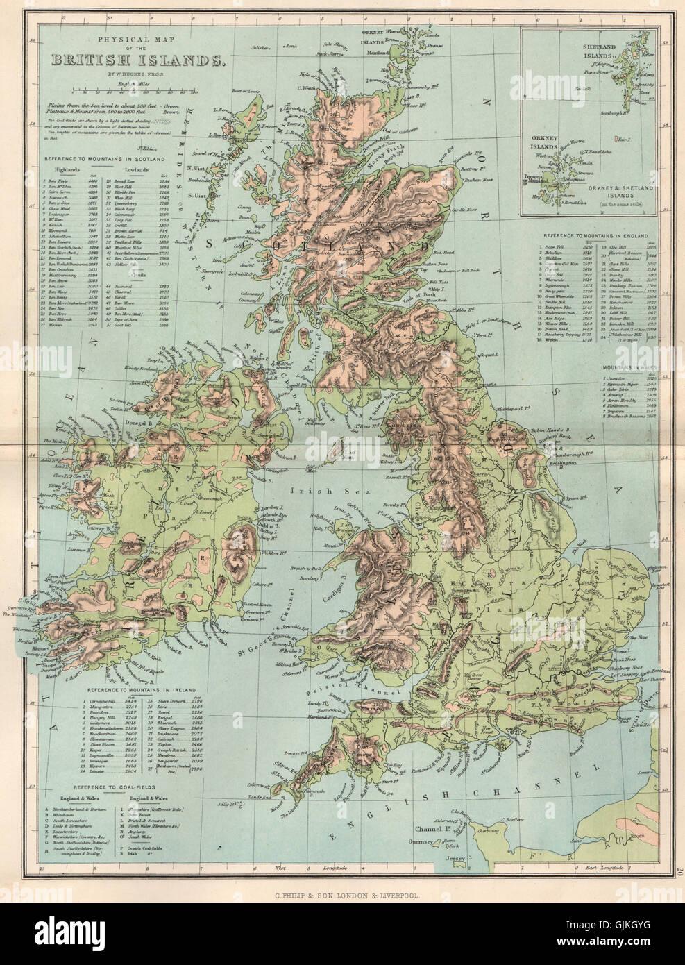 Cartina Fisica Del Regno Unito.Regno Unito Cartina Fisica Isole Britanniche Inset Di Orkney E Shetland Islands 1886 Foto Stock Alamy