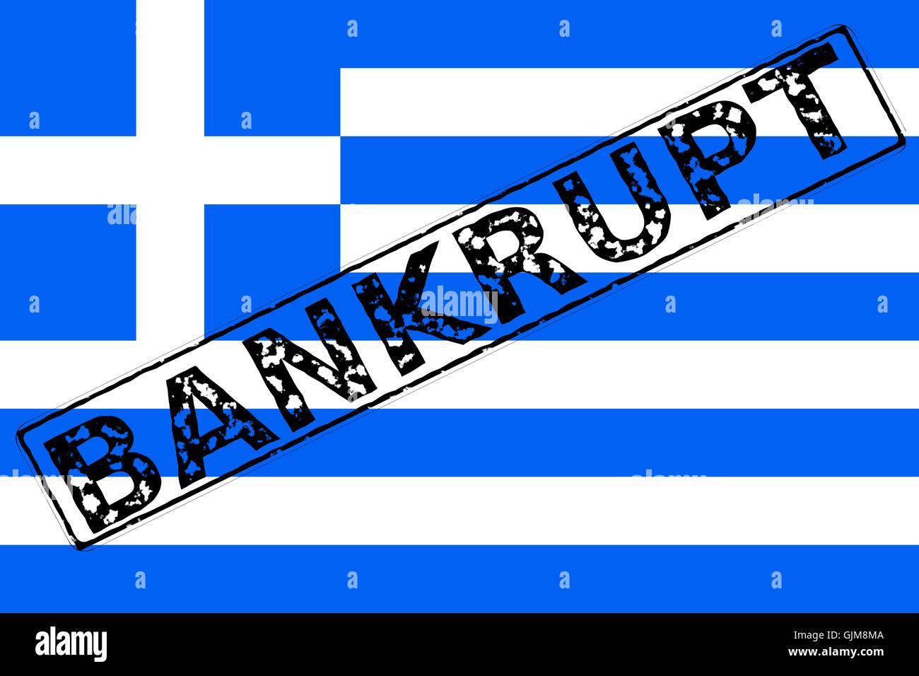 Bandiera Greca in bancarotta timbro Immagini Stock