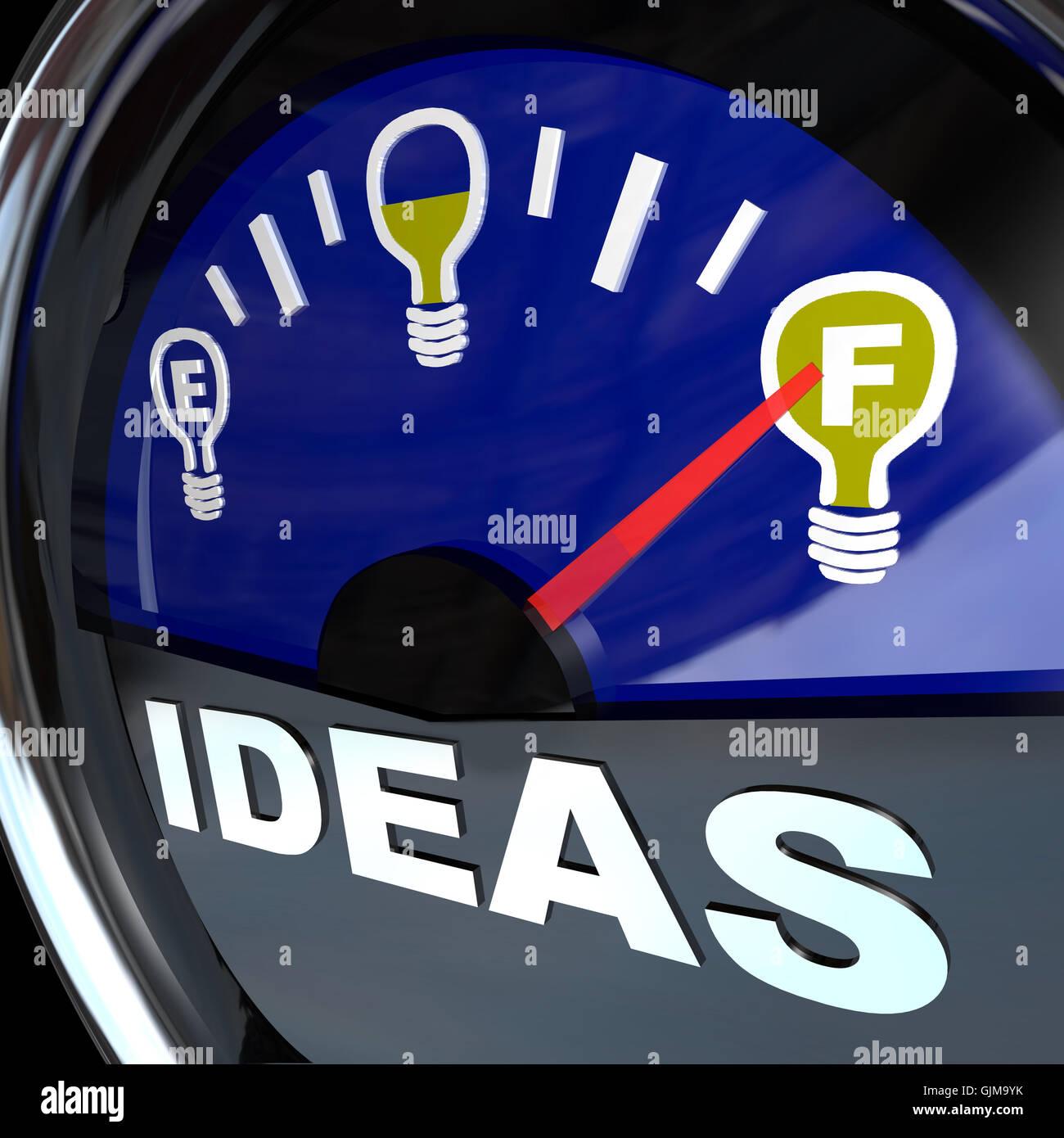 Pieno di idee - Innovazione indicatore del livello del combustibile per il successo Immagini Stock