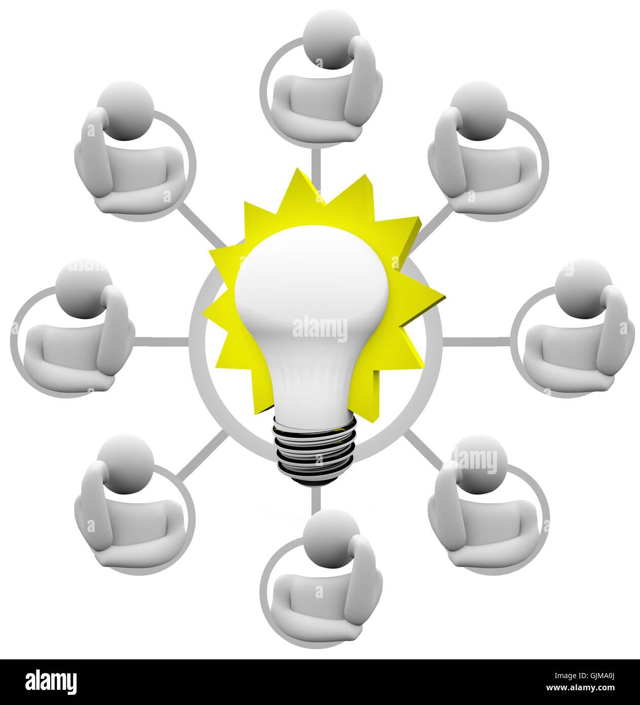 Il brainstorming soluzione al problema immaginare la lampadina Idea Immagini Stock