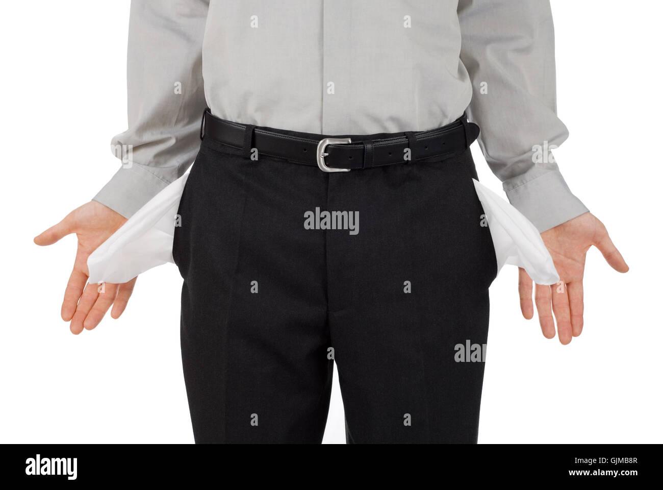 Fallimento di tasche di pantaloni crisi finanziaria Immagini Stock