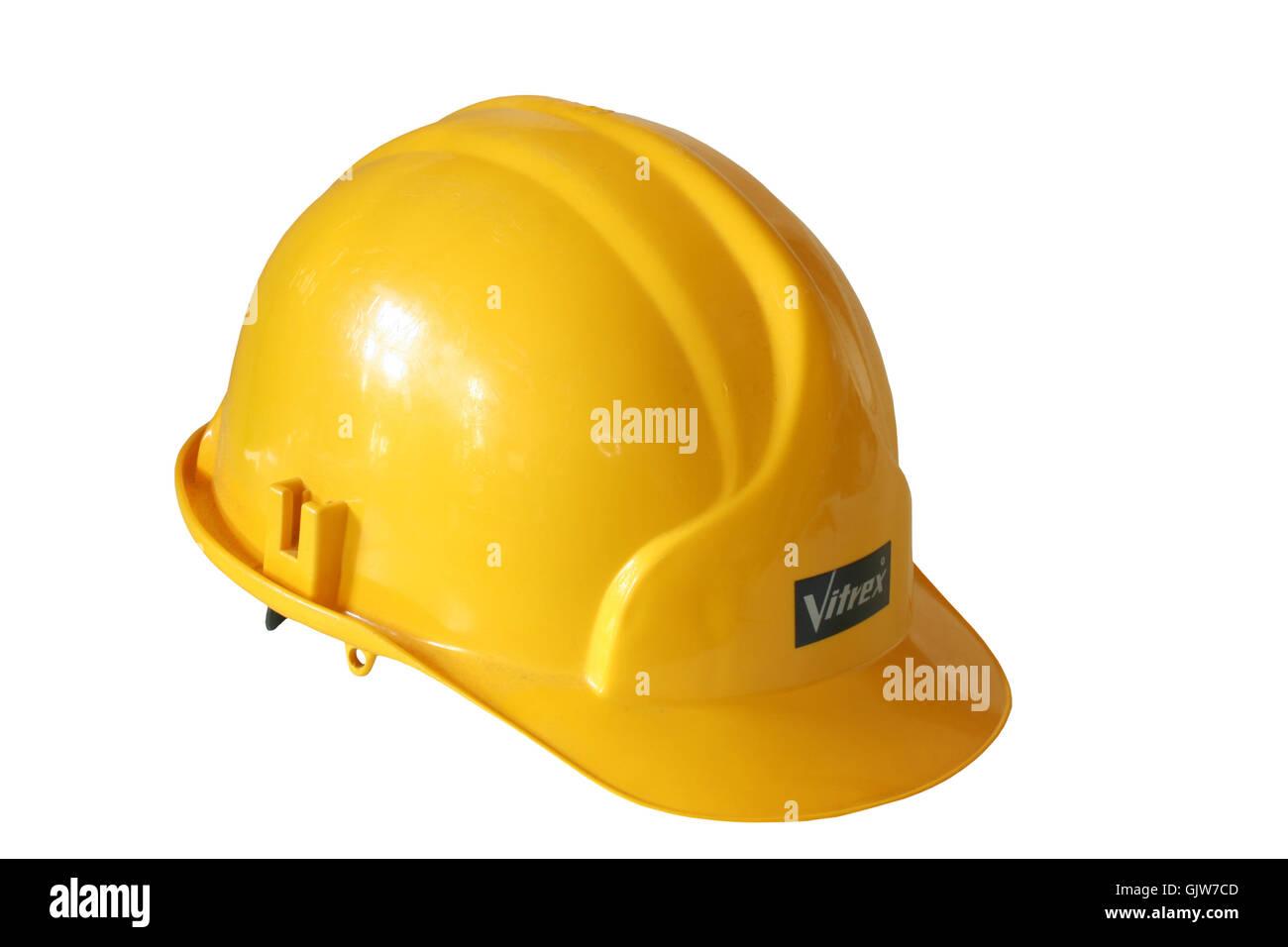 Casco abbigliamento protettivo lavori di costruzione Immagini Stock