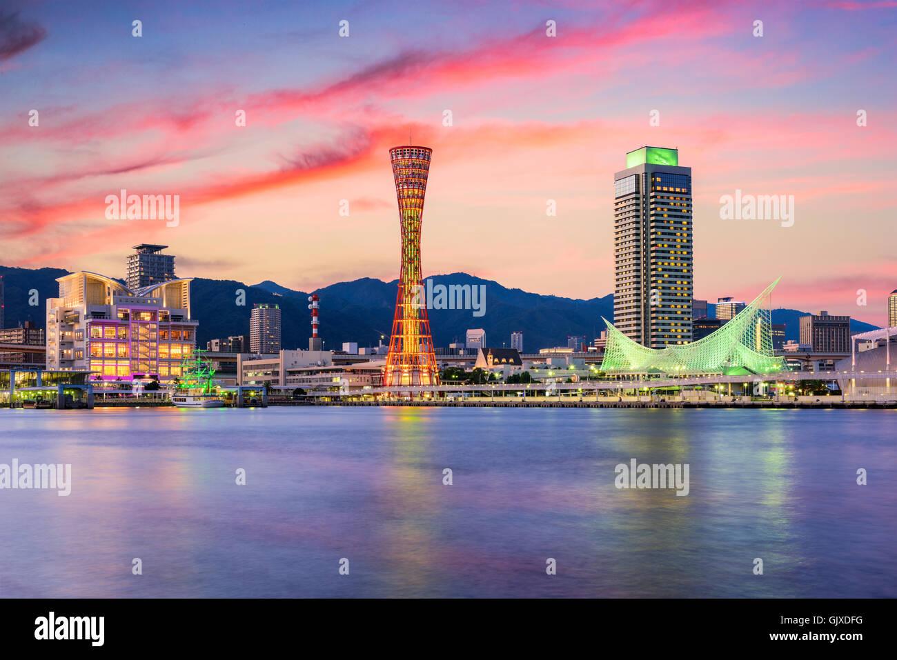 Kobe, Giappone skyline al porto. Immagini Stock