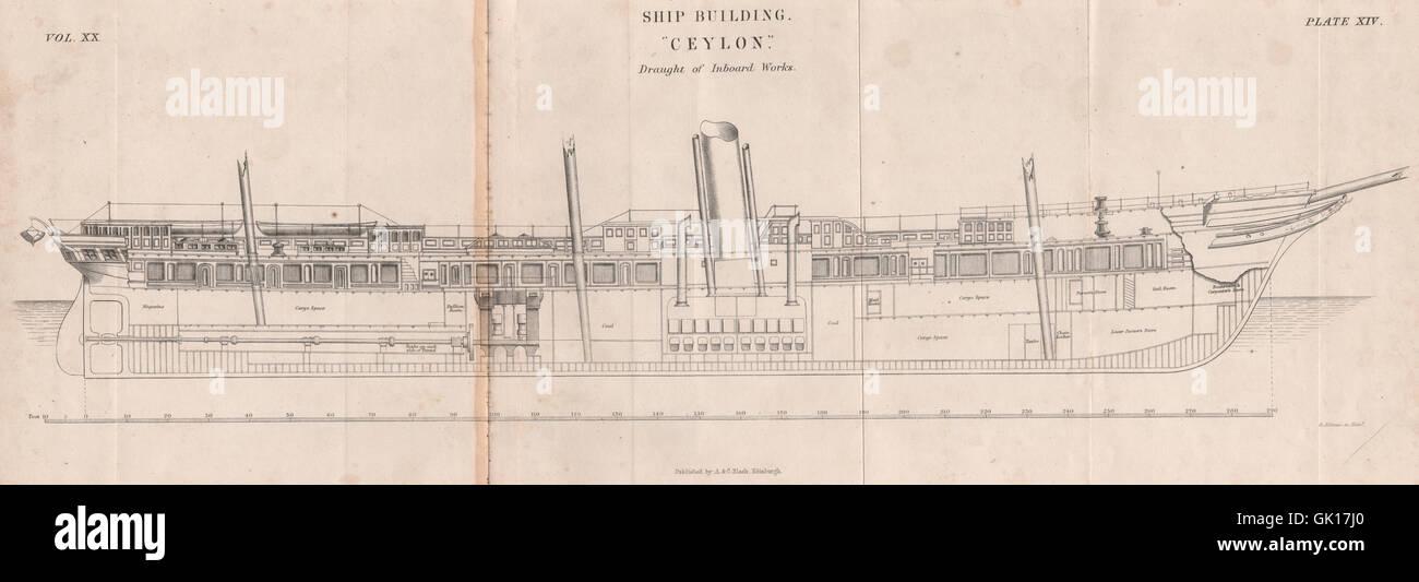 """VICTORIAN Piano nave. """"Ceylon'. Progetto delle opere entrobordo. La BRITANNICA, 1860 Immagini Stock"""