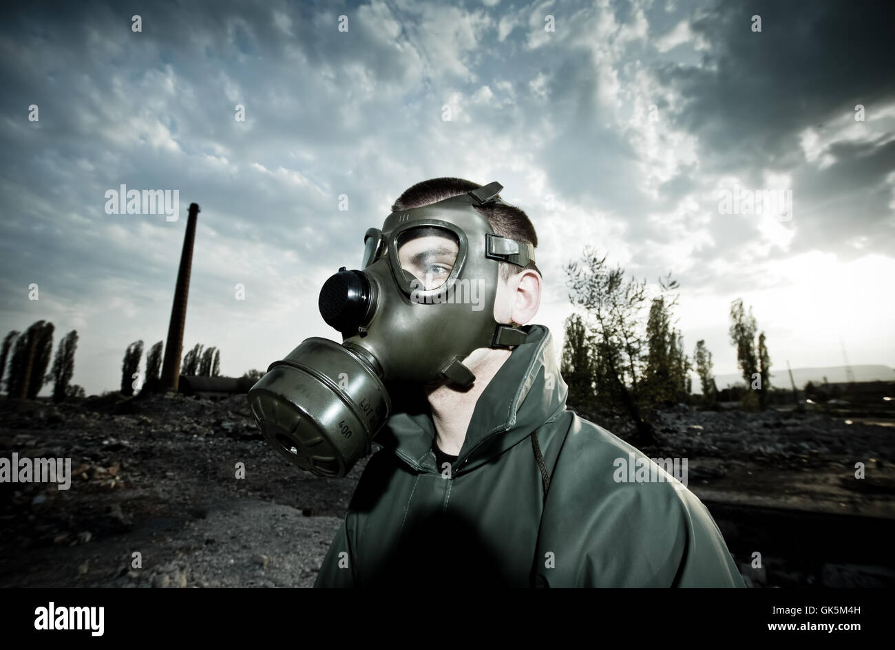 Respiratore di emergenza gas mask Immagini Stock