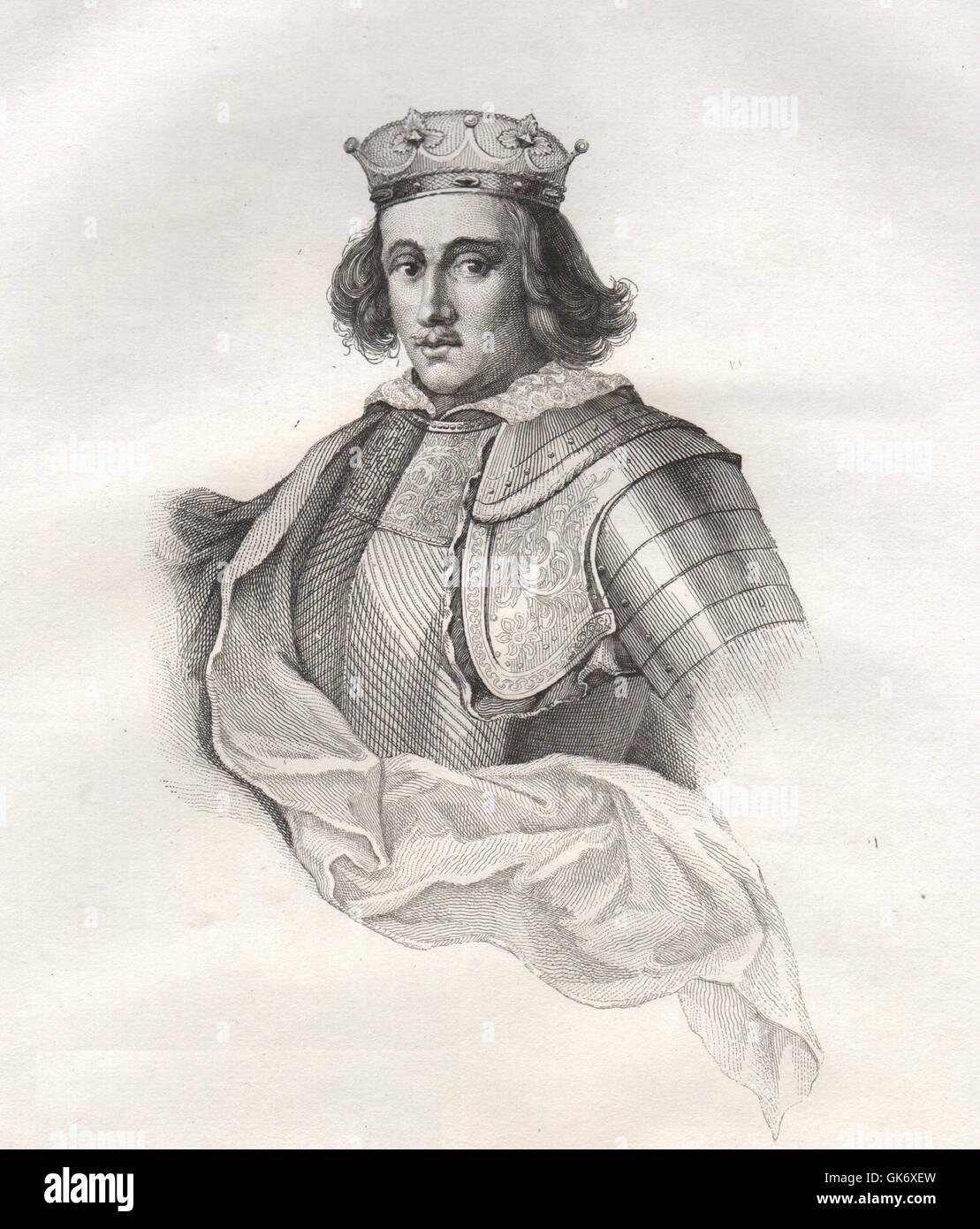 Wladyslaw III, il Varnénien re di Polonia (1434-1444). La Polonia, stampa 1835 Immagini Stock