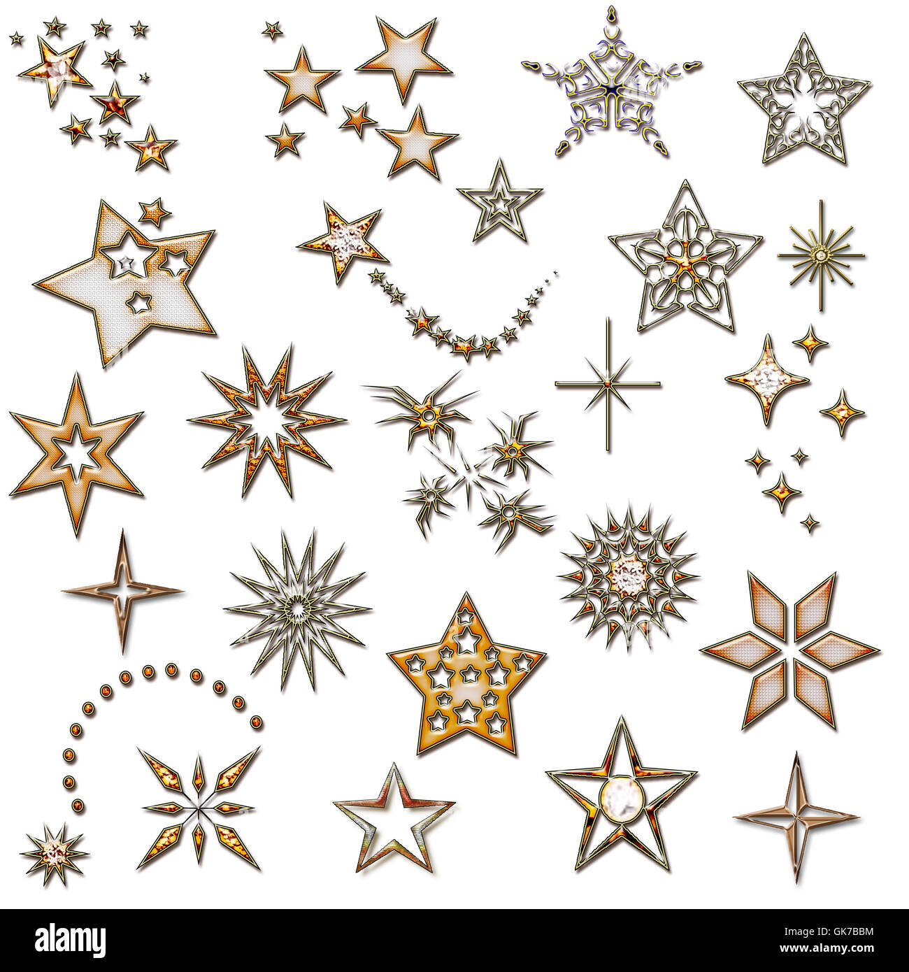 Set di stelle. elemento di design. star icone. natale golden gli elementi di design. Immagini Stock