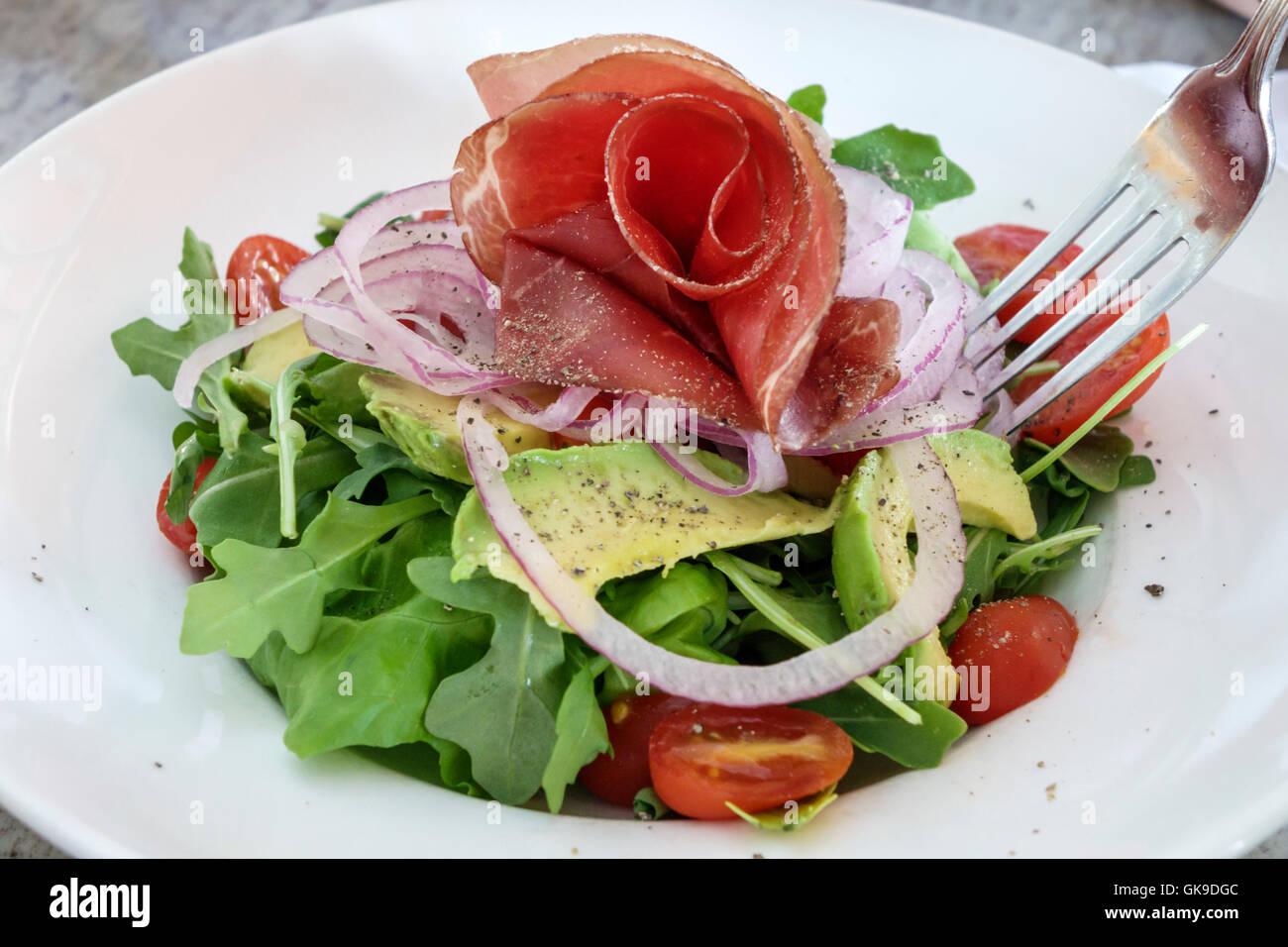 Sarasota Florida Downtown bar Epicure business cibo italiano trattoria piastra alimentare insalata di avocado rucola Immagini Stock