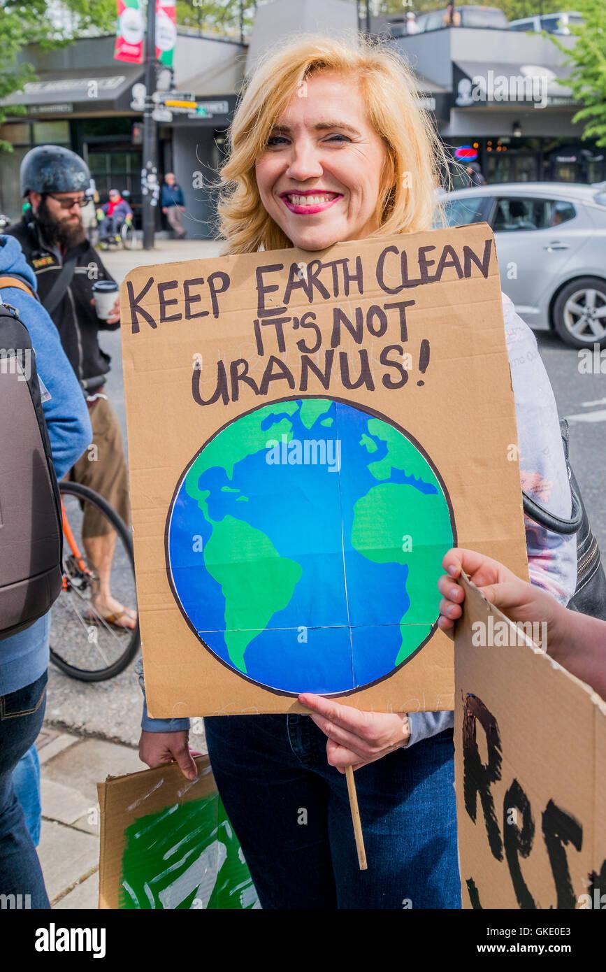 Vancouver Earth Day Parade, organizzata dai giovani per la giustizia climatica ora, Vancouver, British Columbia, Immagini Stock