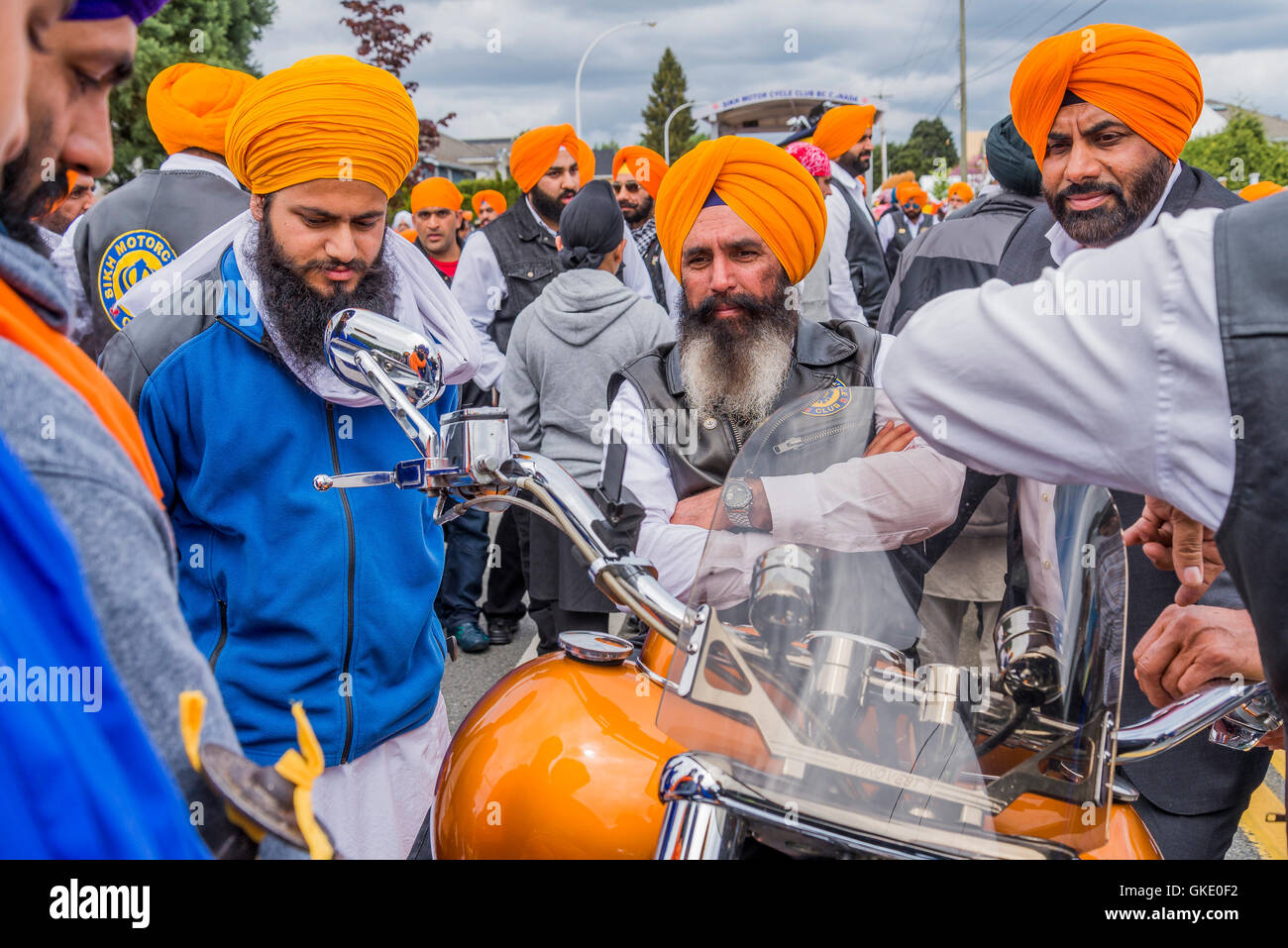 La religione sikh Moto Club, Vaisakhi parata e celebrazioni, Surrey, British Columbia, Canada, Immagini Stock
