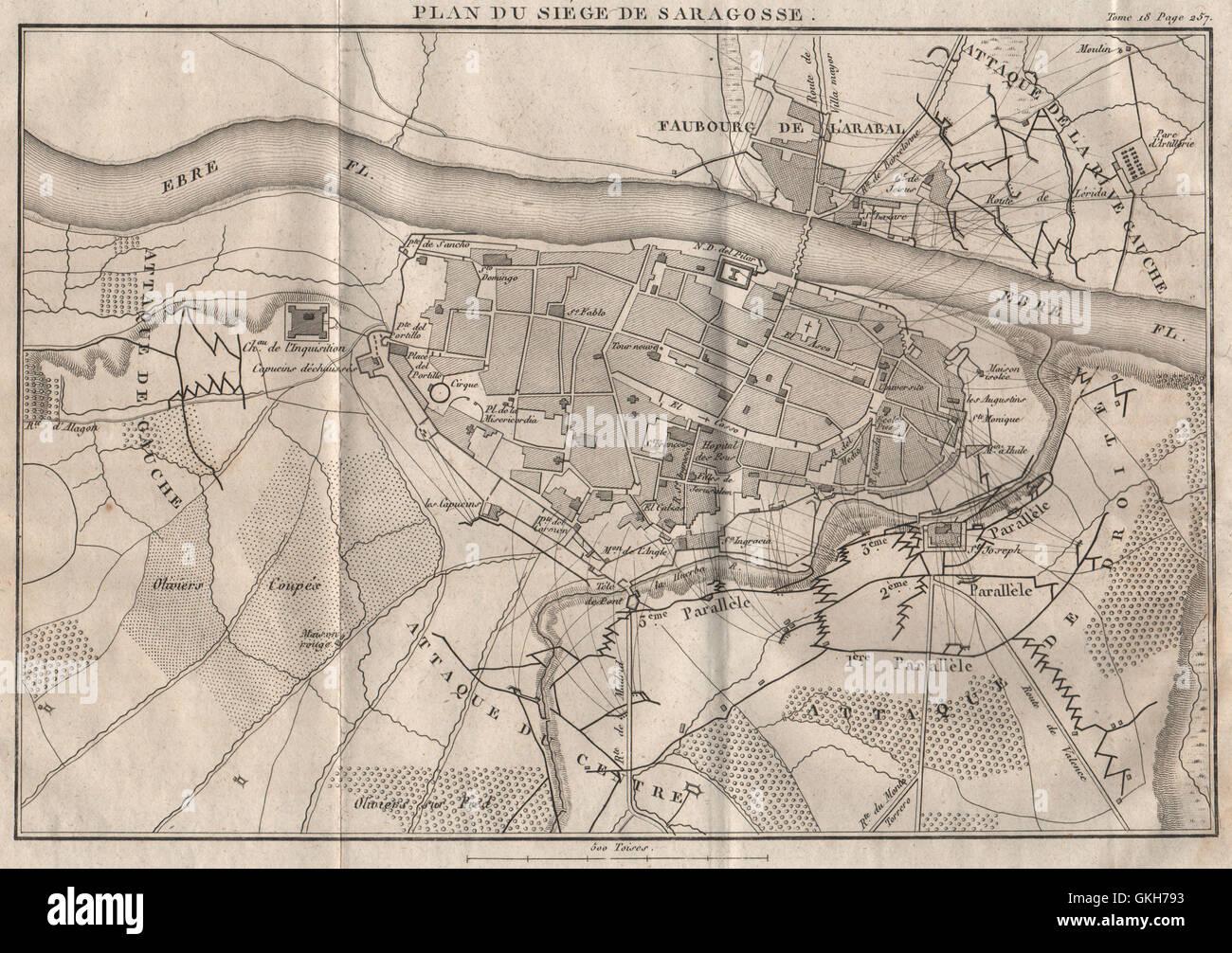 Saragozza Spagna Cartina Geografica.Assedio Di Saragozza 1808 Penisola Di Guerra Saragozza Spagna 1820 Mappa Antichi Foto Stock Alamy