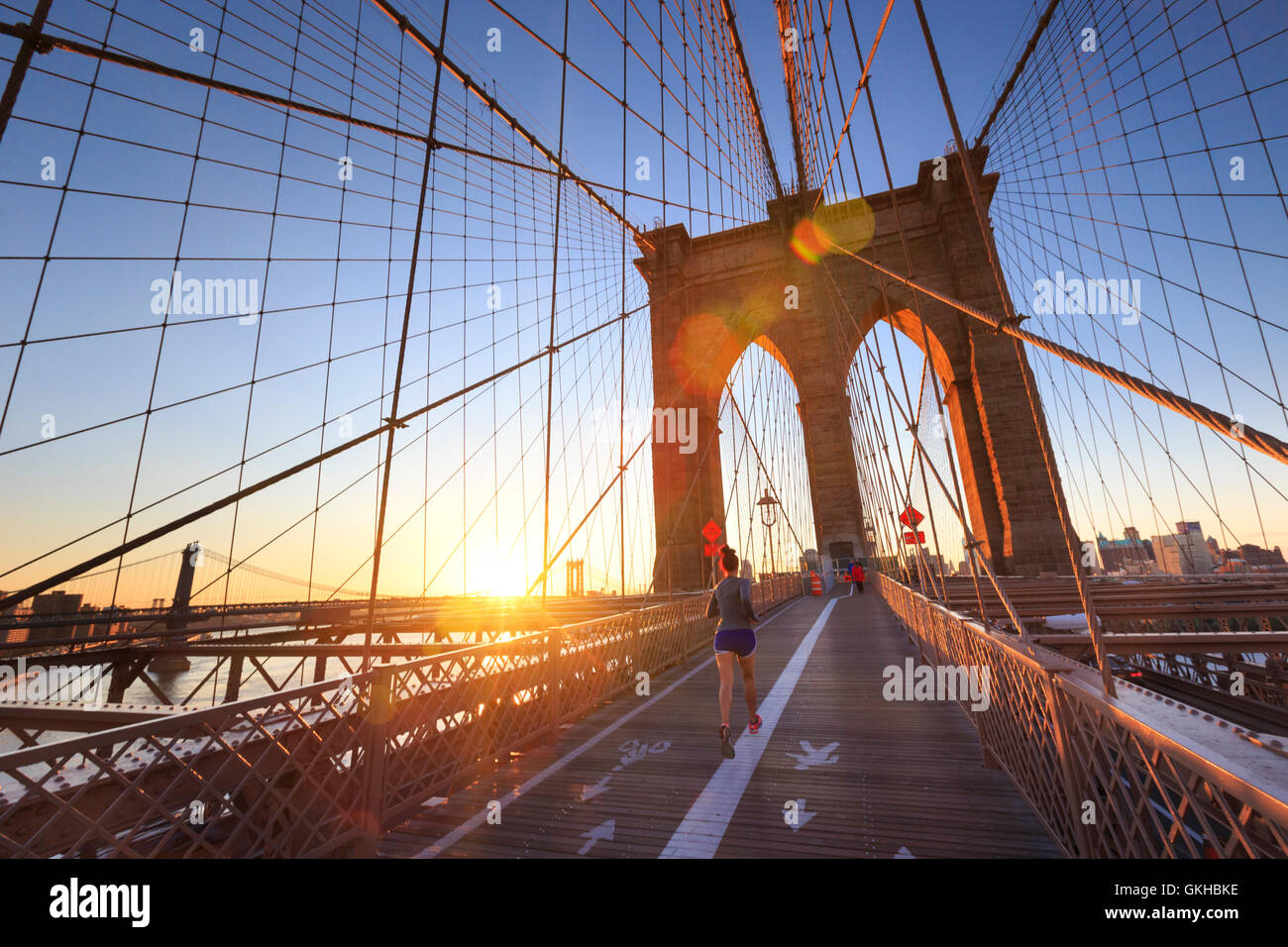 Stati Uniti d'America, New York New York City, il Ponte di Brooklyn Immagini Stock