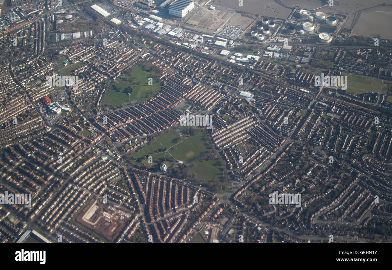 Vista aerea di birkenhead e layout di strada Immagini Stock