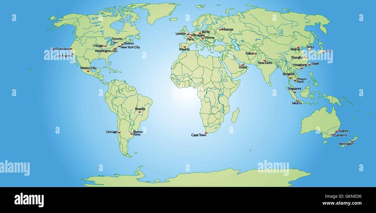 Cartina Capitali Del Mondo.Mappa Di Capitali Del Mondo In Verde Pastello Immagine E Vettoriale Alamy