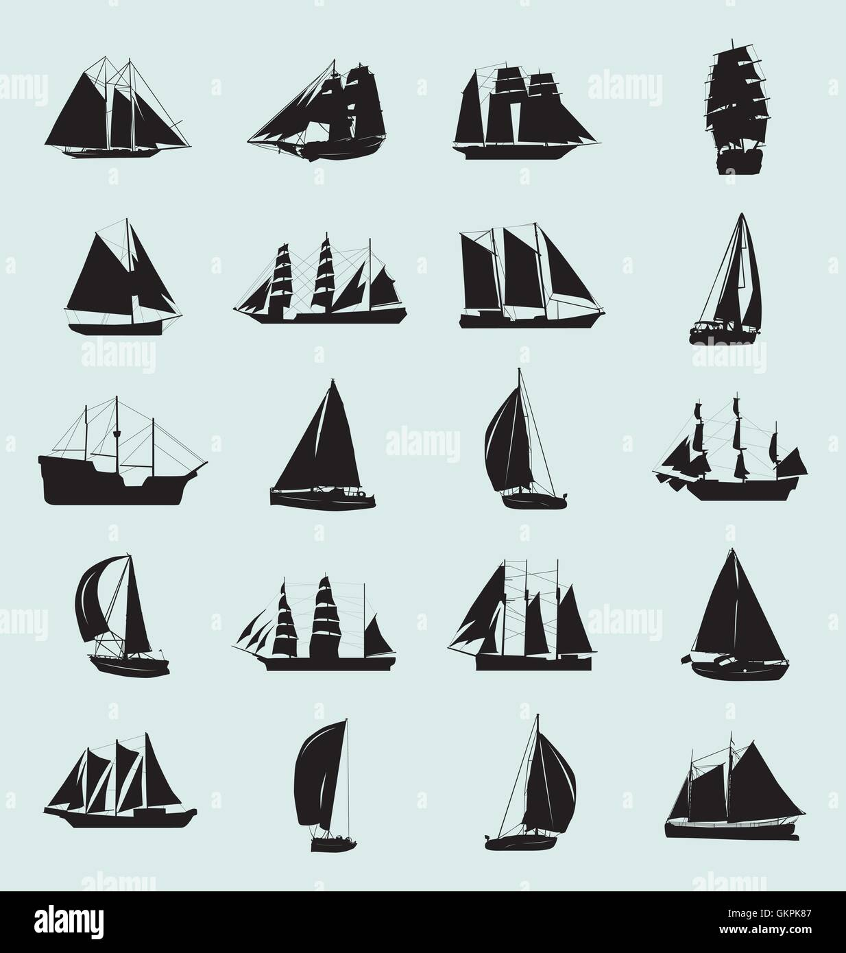 Barca Set Silhouette Immagini Stock