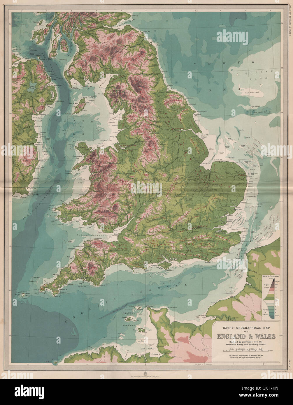 Inghilterra Fisica Cartina.Inghilterra E Galles Cartina Fisica Grande Bartolomeo 1903 Foto Stock Alamy