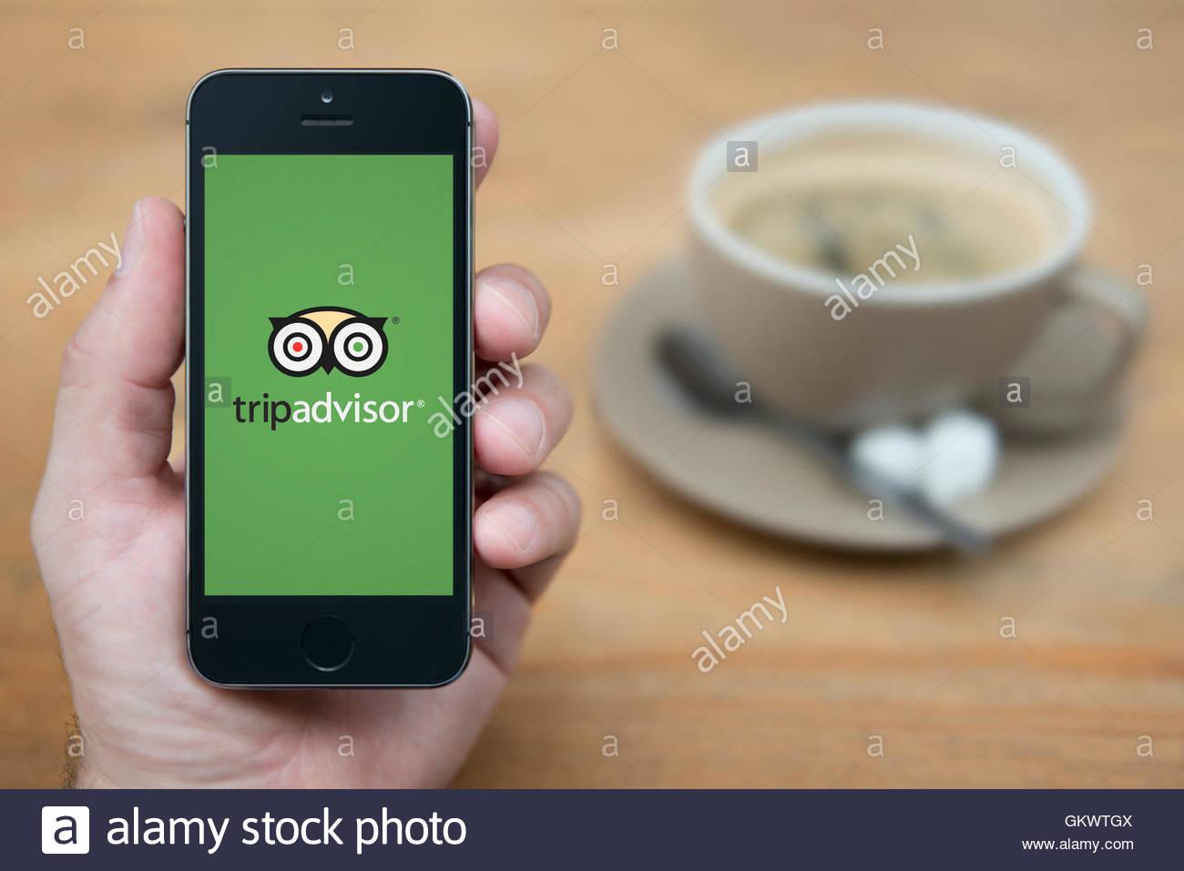 Un uomo guarda al suo iPhone che visualizza il Trip Advisor logo, mentre sat con una tazza di caffè (solo uso Immagini Stock