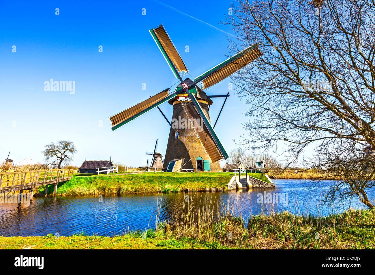 Holland tradizionale campagna - mulini a vento di Kinderdijk Immagini Stock