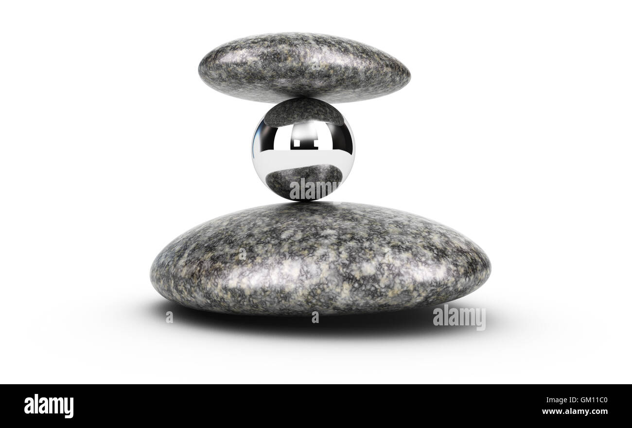 3D'illustrazione di due ciottoli e una sfera di metallo impilate su sfondo bianco. concetto di sfida e di auto Immagini Stock