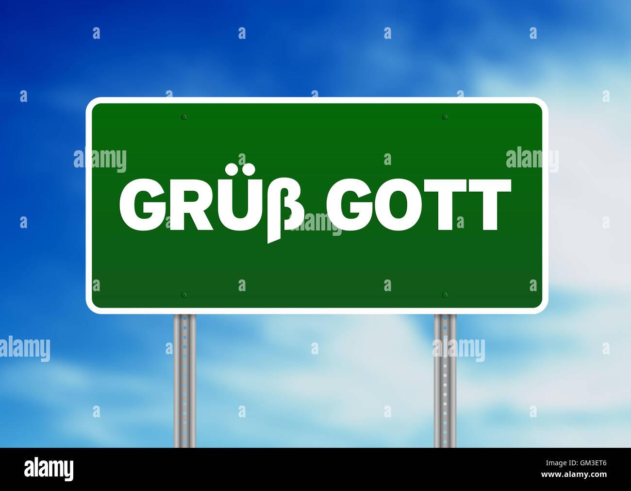 Gruess Gott cartello stradale Immagini Stock
