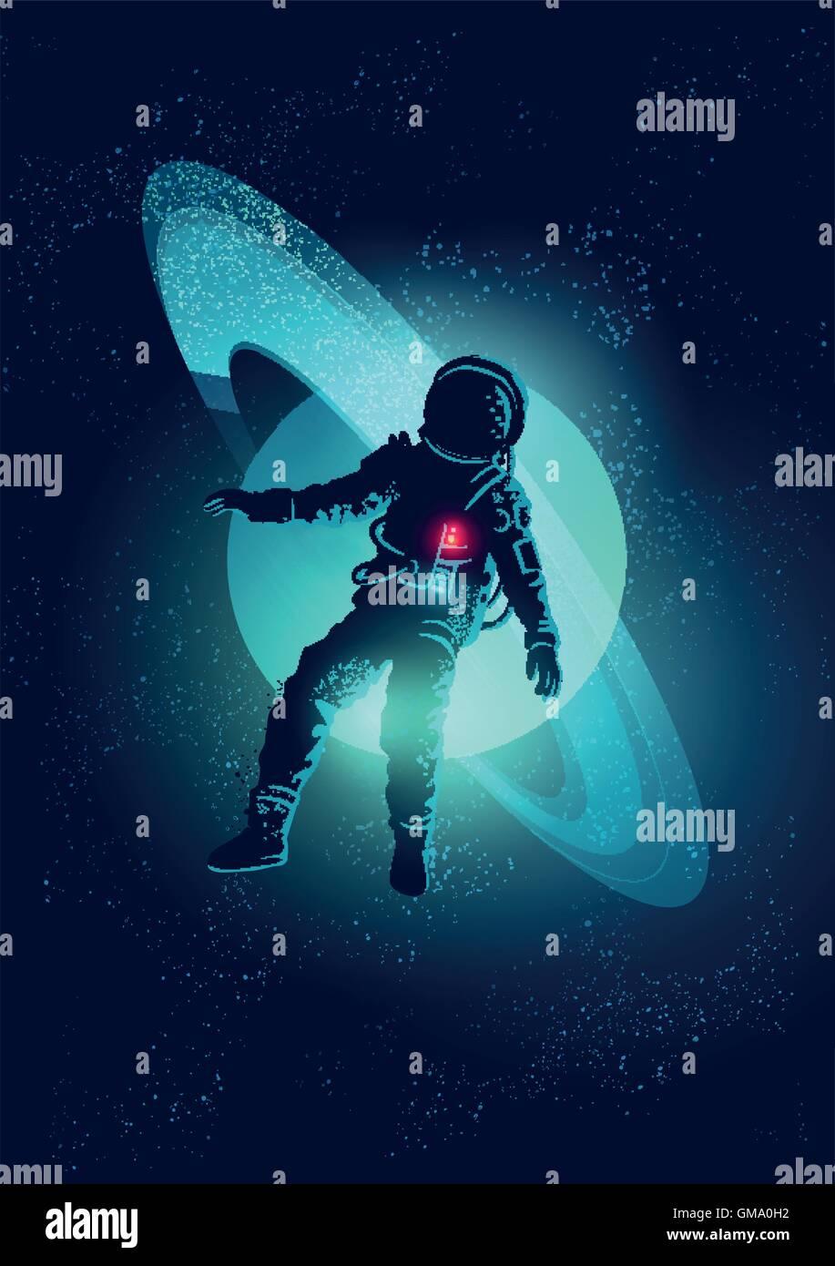 Un astronauta galleggiante attraverso lo spazio. Illustrazione Vettoriale Immagini Stock