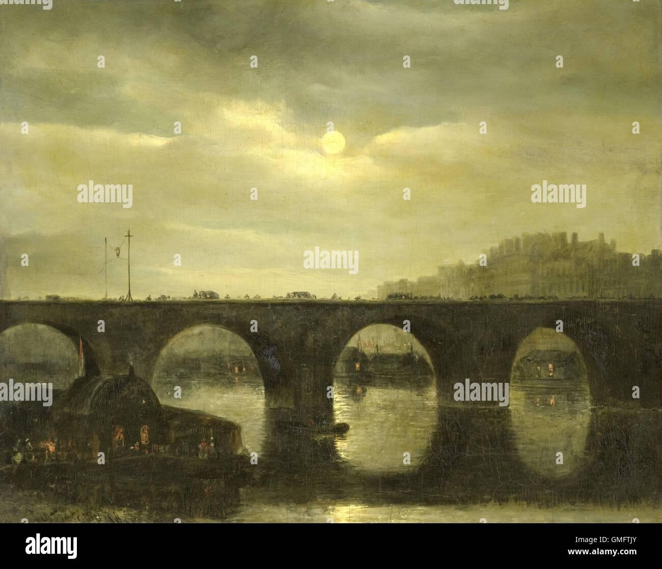Vista di un ponte sulla Senna a Parigi al chiaro di luna, da Antonie Waldorp, 1835, olandese la pittura ad olio Immagini Stock