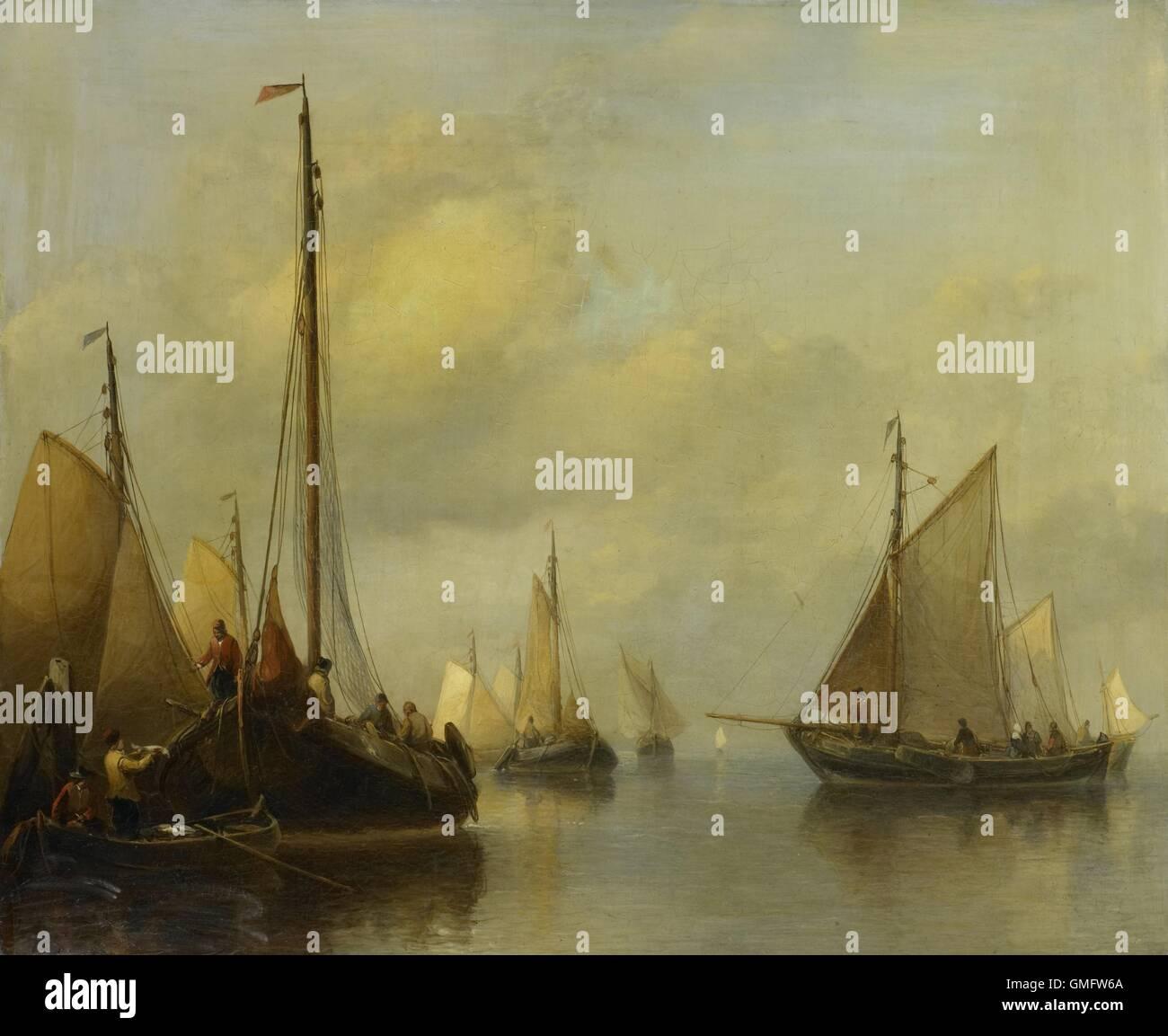 Barche da pesca in acque calme, da Antonie Waldorp, 1840-50, pittura olandese, olio su pannello. A sinistra la cattura Immagini Stock