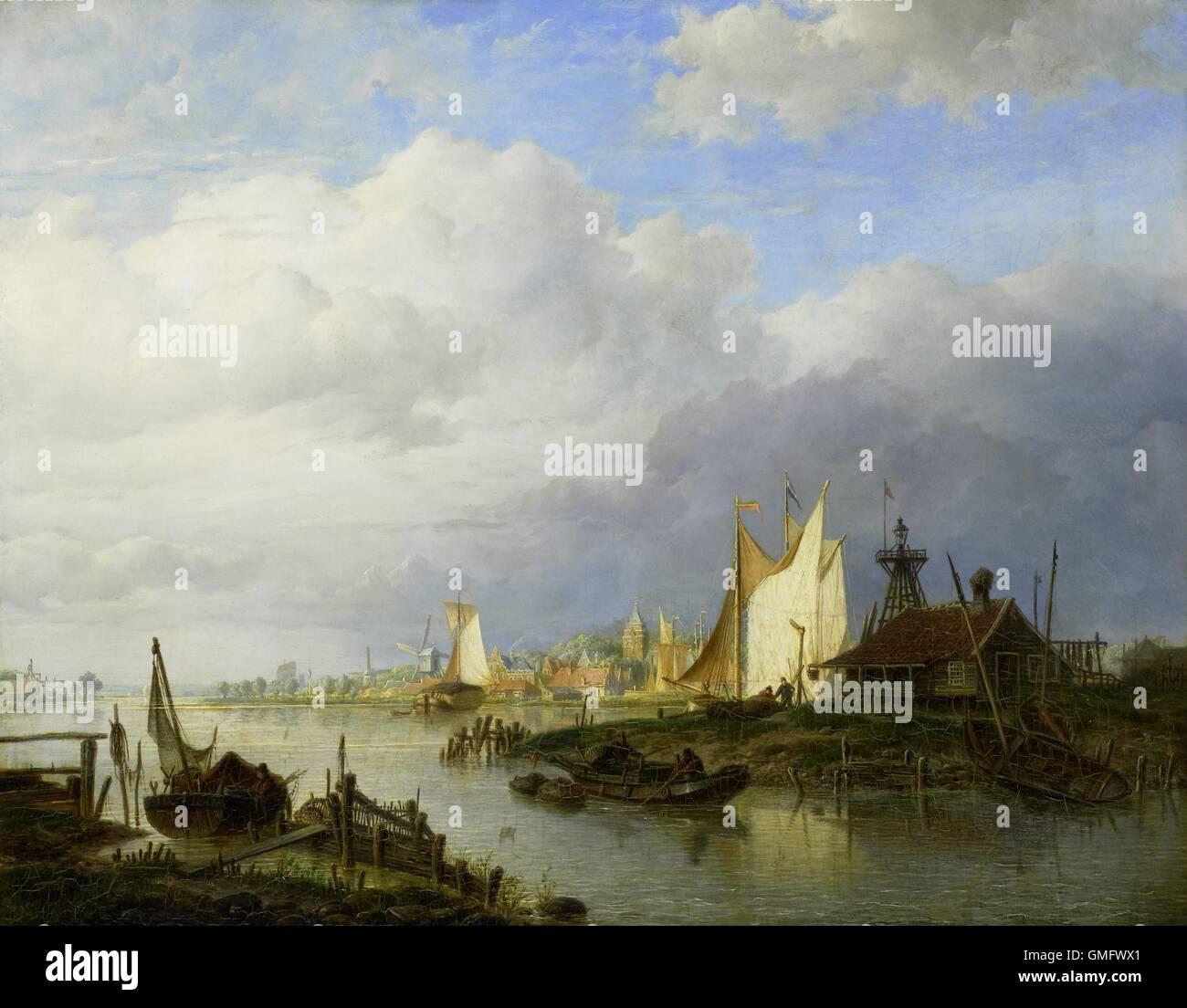 Barche sulle rive di un fiume con un faro di luce, da Hendrik Vettewinkel, 1847, pittura olandese, olio su pannello Immagini Stock